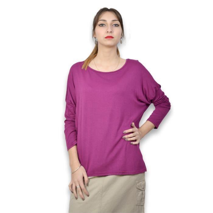 57462797dc5 Tee shirt femme manches longues - Tee shirt femme taille unique de couleur  prune