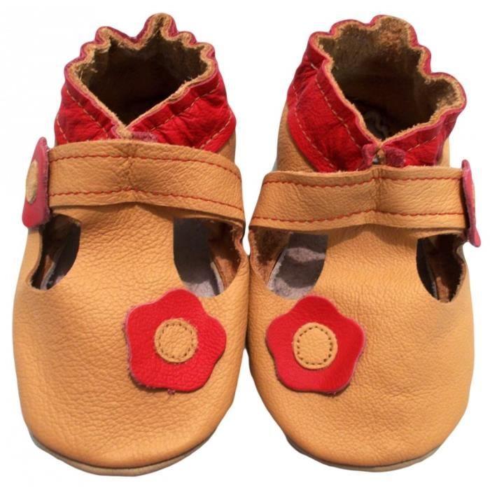 """""""Sandale Fleurie"""" de BBKDOM- Chaussons bébé et enfant en cuir souple de qualité supérieure Fabrication Européenne de 0-5 ans"""