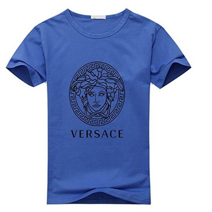 f4c7d06c7893 Versace Logo T-shirt en coton à manches courtes pour homme (Bleu foncé)