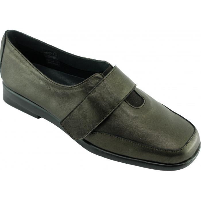 Helco – chaussure confort très souple à velcro semelle antidérapante femme pieds  sensibles marque Aérobics cuir bronze 5080445fe1c7