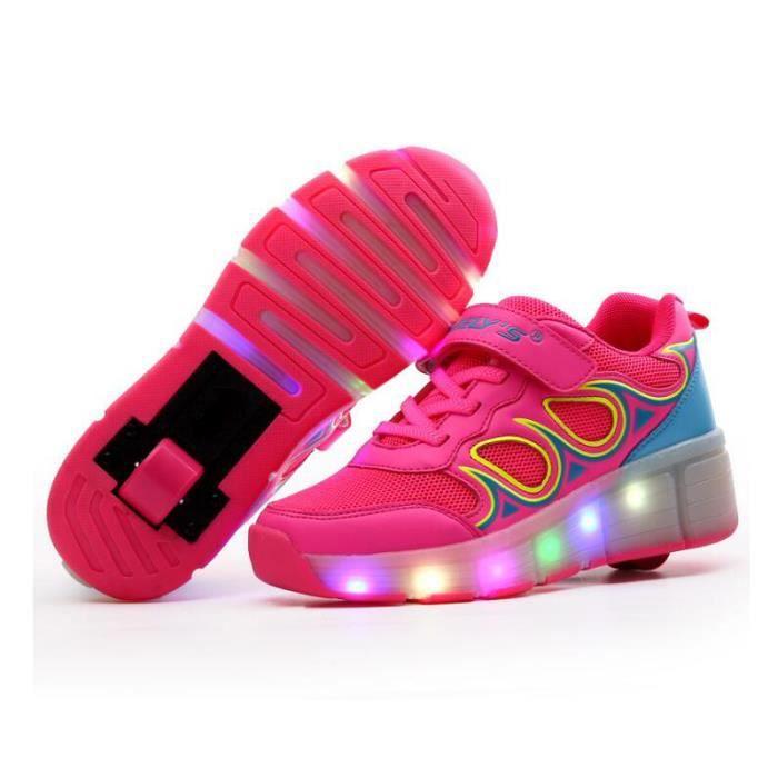 Enfant chaussures à roulettes double roue patins à roulettes male femelle enfantmode LED enfant chaussure Skateshoes - Bleu YeQ5TfhT