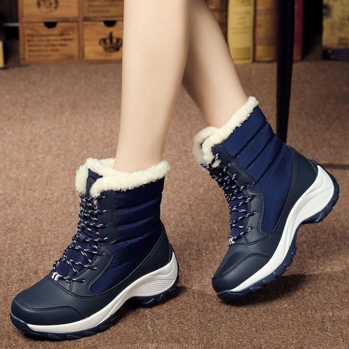 Sidneyki®Bottes d'hiver des femmes en peluche chaussures de travail en plein air chaud cheville bottes de neige Bleu XKO361 e9s6WizLW