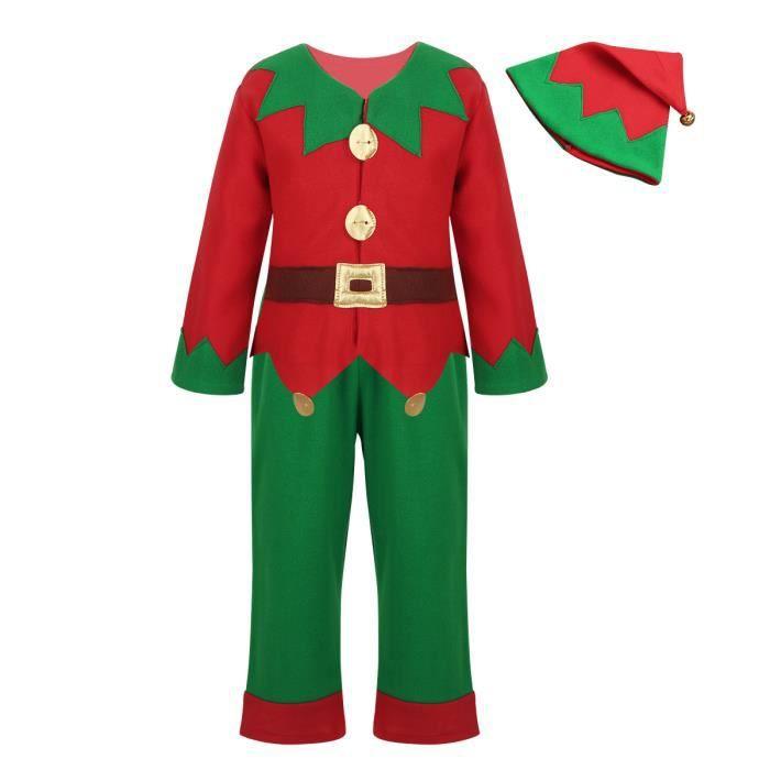 02d2e77dfd9f4 Costume Lutin de Noël Déguisement Enfant Garçons Fille Unisexe - Ensemble  de vetement Noël 3-12 Ans