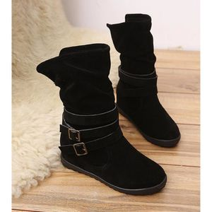 Napoulen®Dames bas coin boucle cheville Trim plat bottes pour femme Marron-XMM70915533BW 8c6oAtt