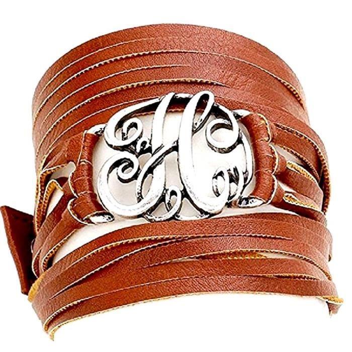 Womens H Monogram Faux Leather Wrap Bracelet. PBRUM