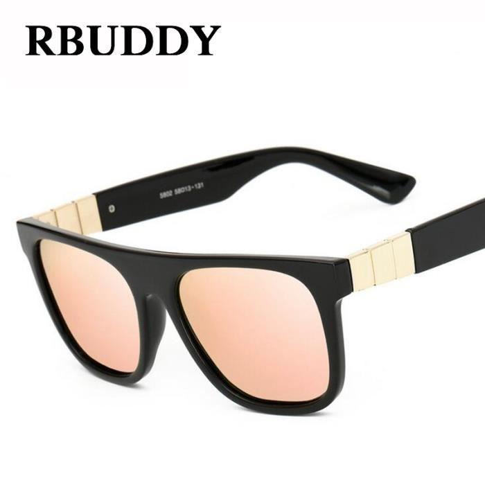 RBUDDY lunettes de soleil polarisées femmes concepteur de marque 2017 Flat top lunettes de soleil dété Miroir carré de soleil