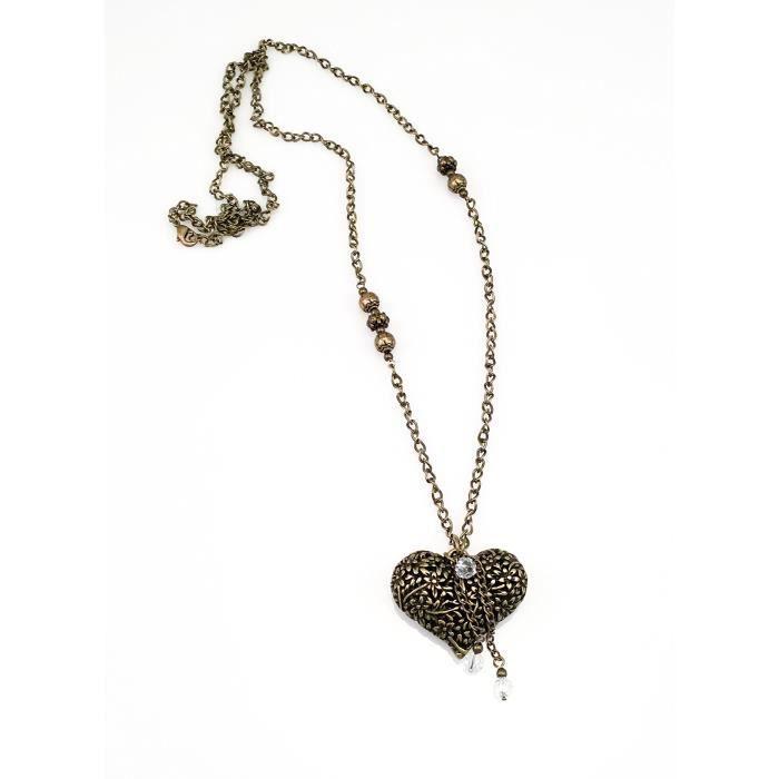 Craze Collier Antique Gold Pewter Heart - Steampunk - Bohemian - Unique - main.