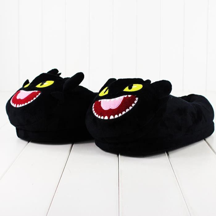 Comment s'entrainer votre Dragon en peluche pantoufle de nuit Fury toothless rembourré pantoufle hiver intérieur chaud chaussures