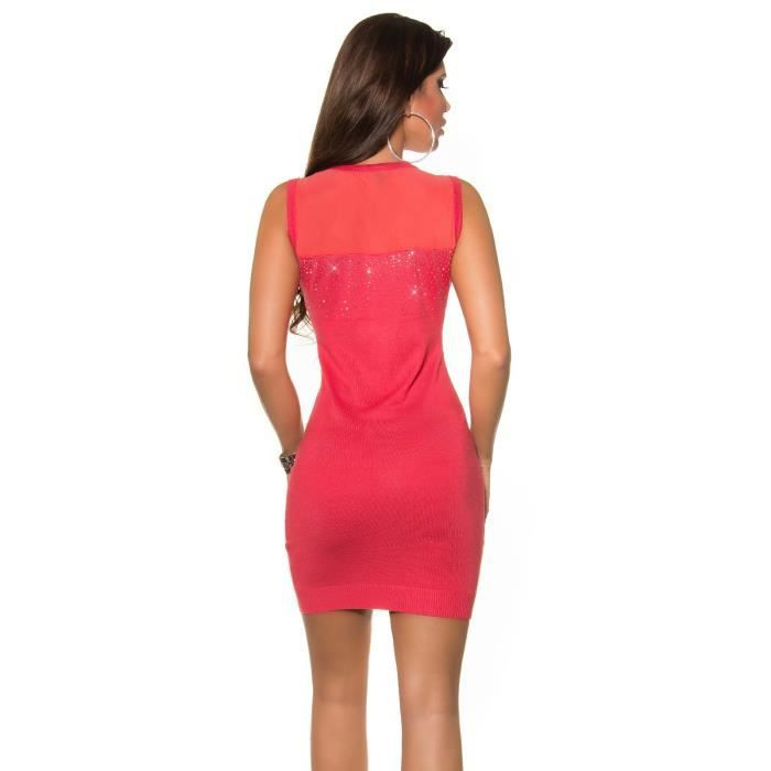 robe sans manche voile et strass corail