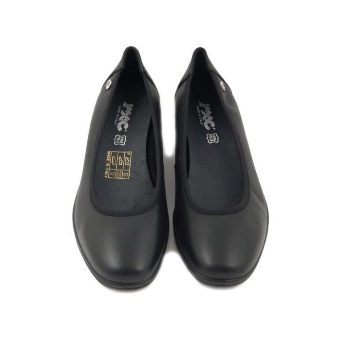 IMAC, escarpin en cuir noir avec élastique, 82081