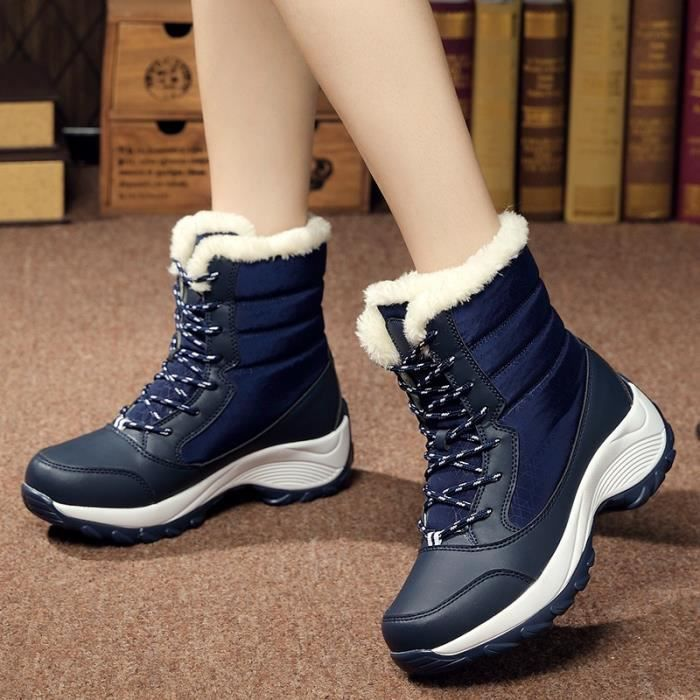 Bottes pour Femmerouge 40 Femmes en cuir de neige lacées cheville Chaussures de sport Chaussures montantes d'hiver ave_37243
