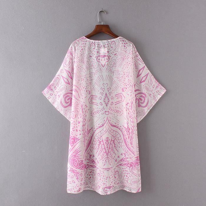 Imprimer Femmes Rose Vrac En Kimono Châle Chemisier Recouvrir Cardigan Haut De Mousseline Soie aIHTa