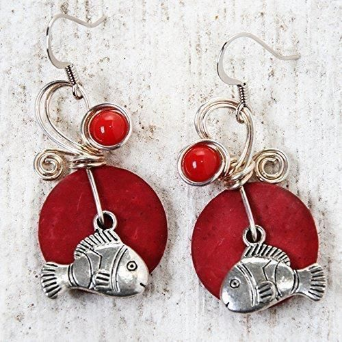 Womens Fish Earrings Big Red Ocean Theme Jewelry Wirewrapped Red Stone Beads And Coconut Shells FCM6T