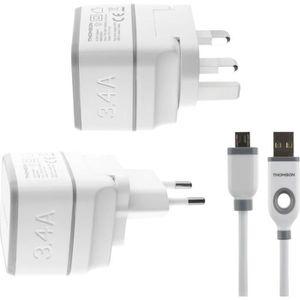 THOMSON Chargeur secteur de voyage avec câble USB / micro USB - Blanc