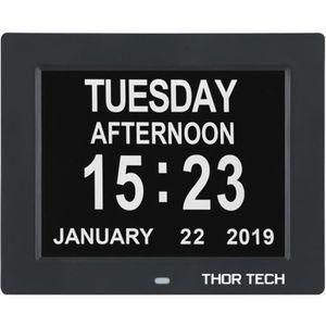 HORLOGE - PENDULE  Horloge Calendrier avec Date Jour Heure Grande Po
