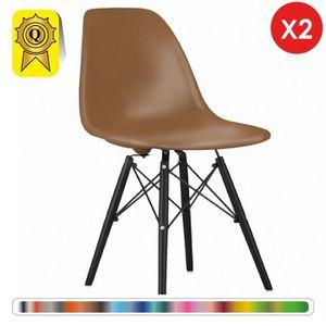 CHAISE 2 x Chaise Design Scandinave Marron pieds Bois 23b82455ce57