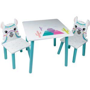 AGENOUILLOIR JARDINAGE LAMA Table et 2 chaises pour enfant - En bois MDF