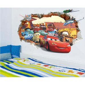 STICKERS Chambre Chambre Backdrop Stickers Cars 3D Poqiang ...