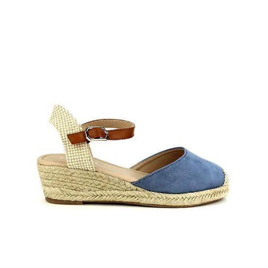 dde877f488d2cf Sandale Femme Cendriyon Compensées Nu pieds Bleu Chaussures gq7Rrg0w ...