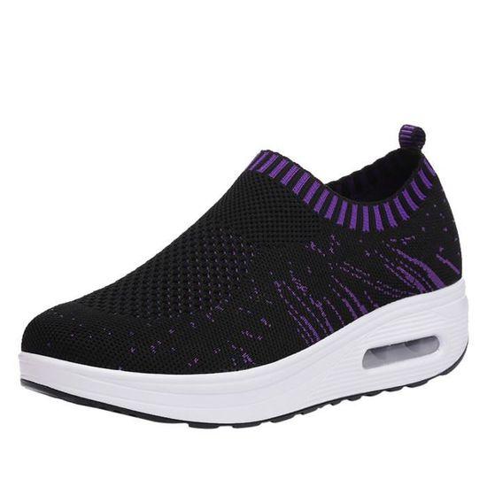 Reservece  Femmes Outdoor Mesh Chaussures de sport Casual coussin d'air semelle épaisse Chaussures Baskets Noir Noir Noir - Achat / Vente basket