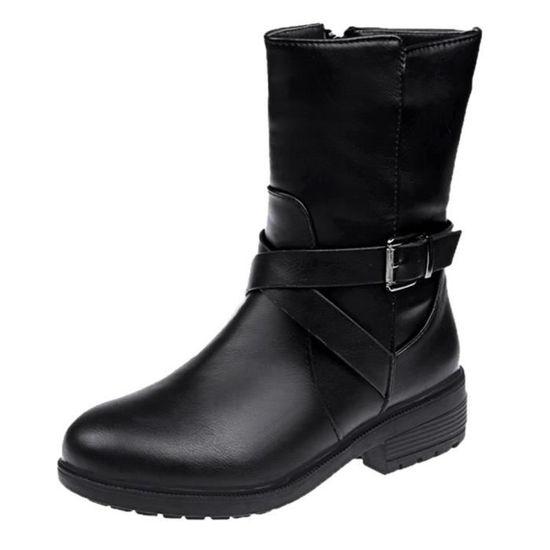 Talon Martin En Strap Femmes Boucle Bottes Rond Chaussures Noir Bout Carré Cuir À dwa10aR