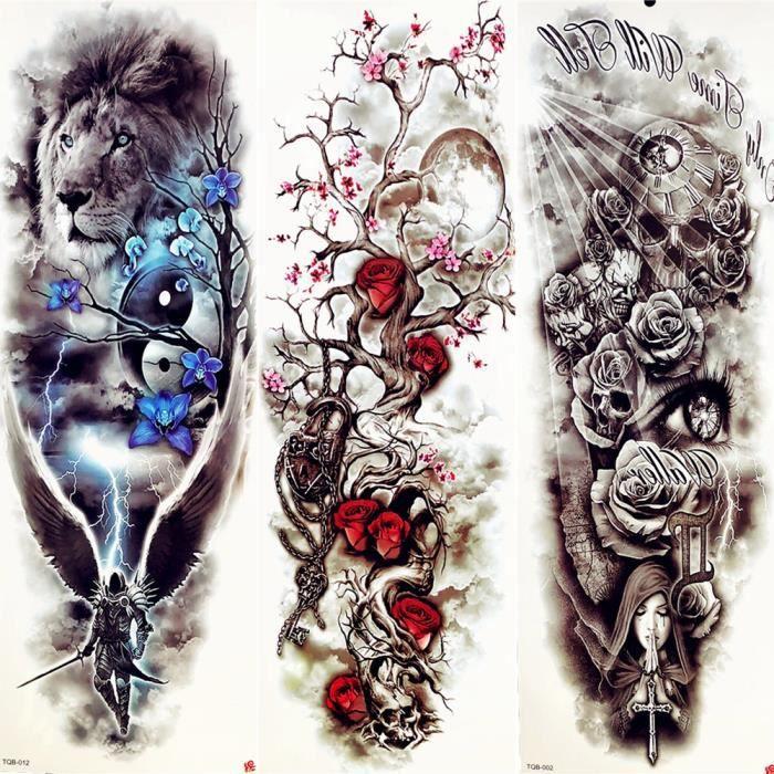 3 Morceaux Sexy Direction Aquarelle Fleur Tatouage Temporaire Femmes