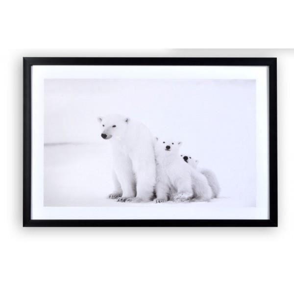 tableau cadre ours blanc neige 60 x 40 cm achat vente tableau toile soldes d s le. Black Bedroom Furniture Sets. Home Design Ideas