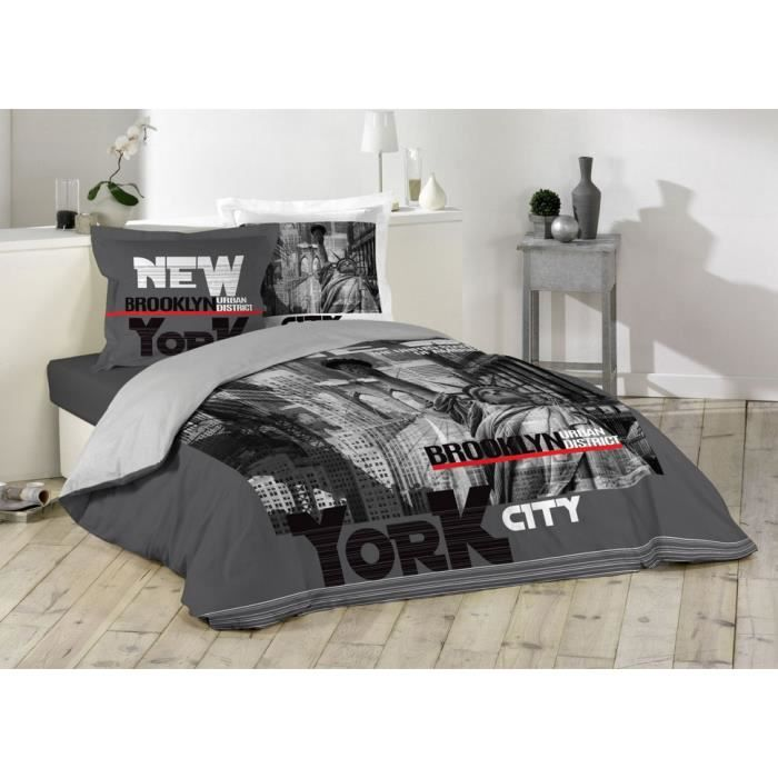 Housse De Couette New York Brooklyn 2 Taies 100 Coton 220 X 240
