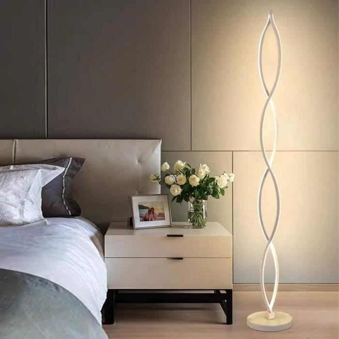 Elinkume Lampadaire Led Dimmable Spirale Blanche 30w Lampadaire
