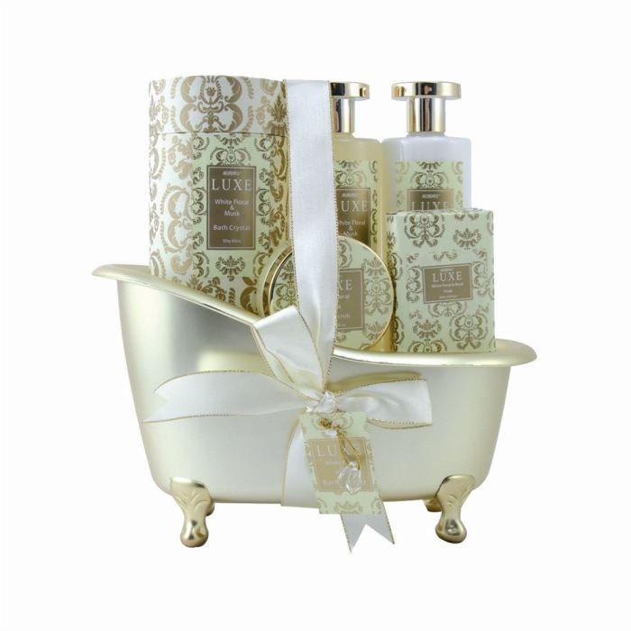 baignoire de bain luxe musc et rose blanche achat vente coffret cadeau corps baignoire. Black Bedroom Furniture Sets. Home Design Ideas