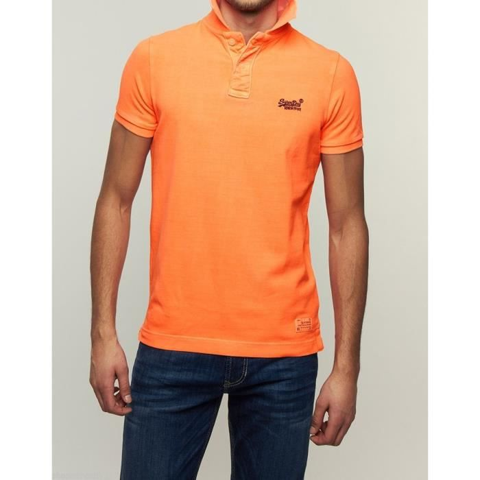 Achat Superdry Electric Vintage Ss Pique Polo Destroyed Orange pxf08x7