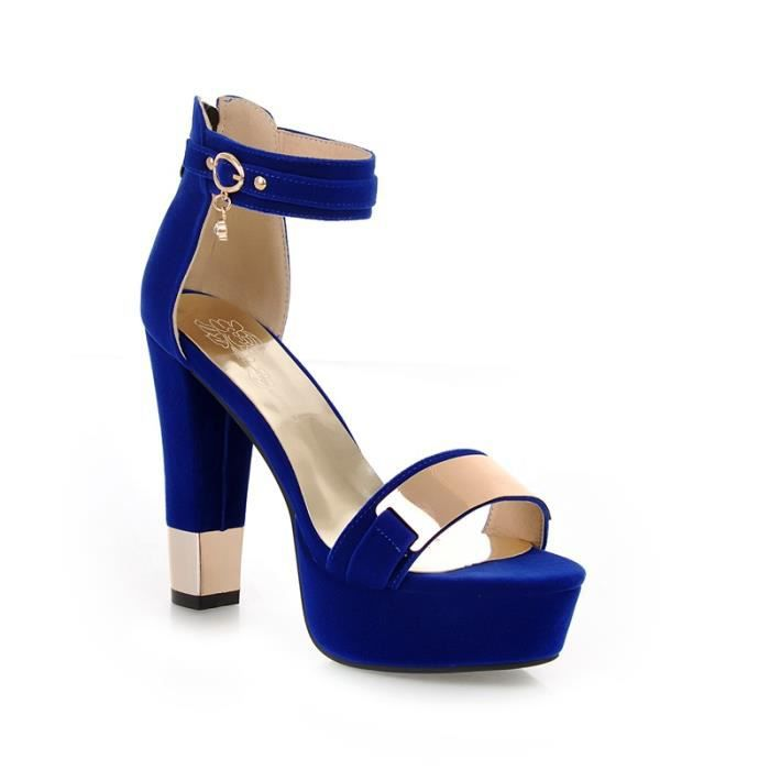 DYF Botte Courte Chaussures Haut Talon Rugueux de la Boucle de Sangle Tête Ronde Big Size,Black,38
