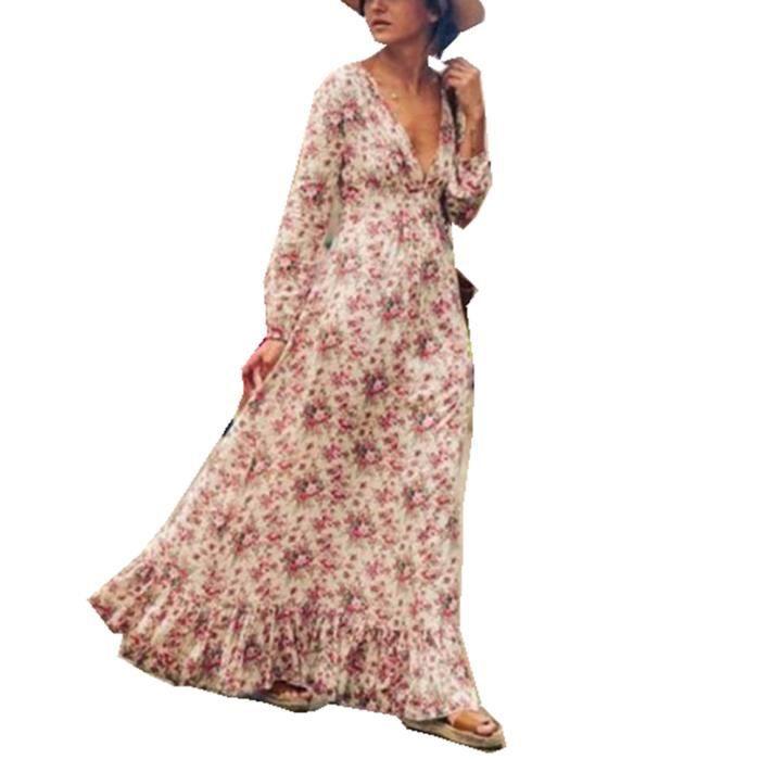 ASSKDAN Femmes Bohême Maxi Longue Robe Coton Imprimé Manche Longue Col V Profond Robe de Plage dété