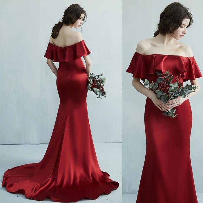 Robes de Soirée Cérémonie Mariage Femme Epaules Dénudées à Volants Elegant Sirène Sexy Rouge