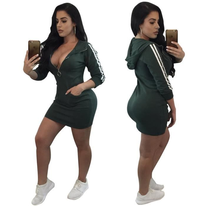 Style Sportif Robes 2018 Nouvelle arrivee Style Sportif Robe Discothèque Confortable Style Sportif élégant Grande Taille S-XXXL
