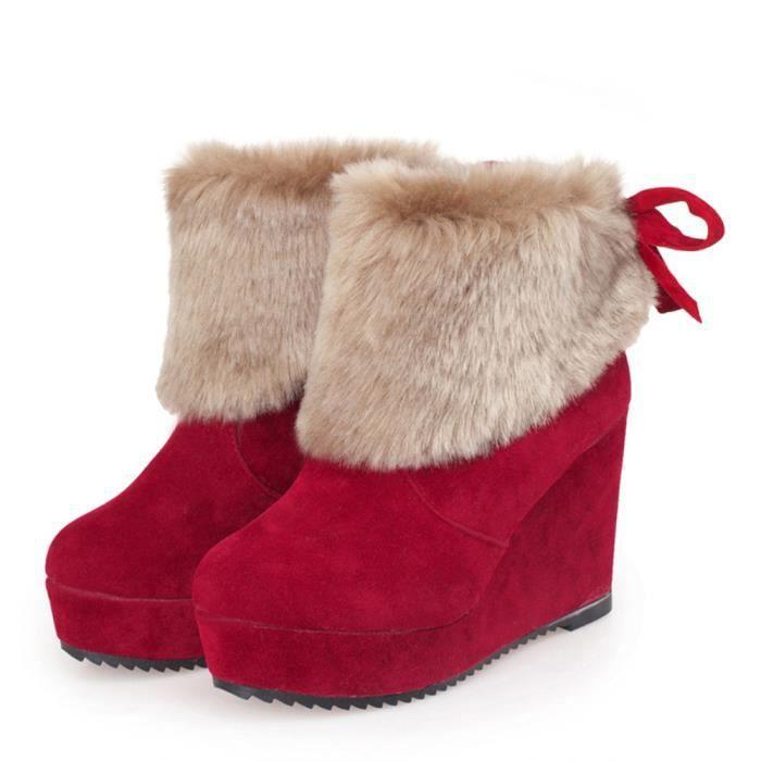Napoulen®Mode Bow Bottes de neige d'hiver extérieur chaud pour femmeRouge-SJF71103733RD qlGfIb