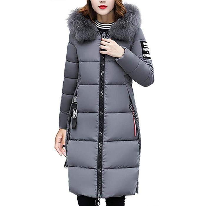 7cddb45ca4816 Minetom Femme Doudoune Longue Manteau Zippé épais Chaud Hiver Fourrure avec  Capuche