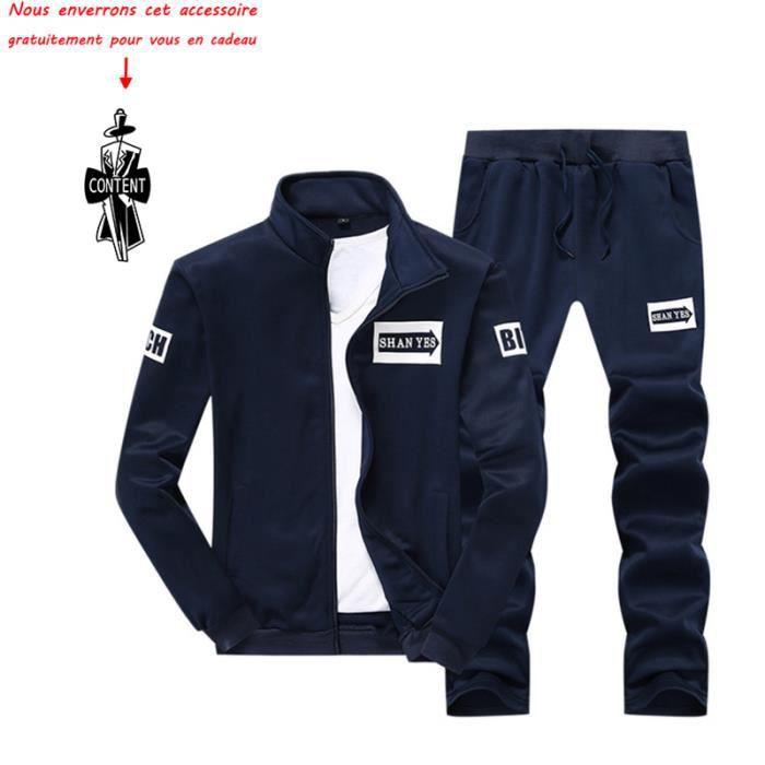 prix compétitif 83709 1de54 (Veste et pantalon) de survêtement homme Marque Luxe impression Blouson  Pour Homme Manteau VêTement Masculin – Bleu