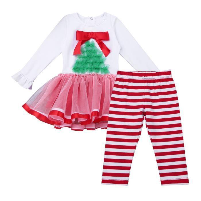 3eda9f8ed0ca3 Déguisement Ensemble de Vêtements Bébé Fille Noël - Robe de Noël Ballet  Leotard Performance Arbre de Noël à rayures