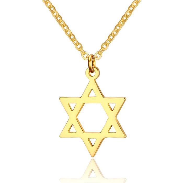 Yolanda Femmes Dainty Gold Star juive de David Collier Pendentif pour les bijoux en acier inoxydable TQXZ0