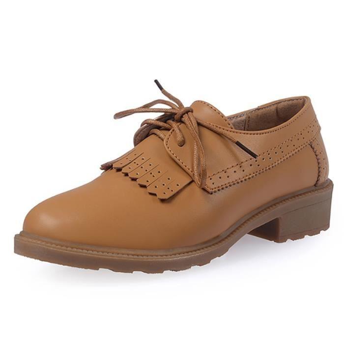 Britannique de Respirant Chaussures cuir richelieu en simples ressort femmes Nouveau plat rrqxRwH6A