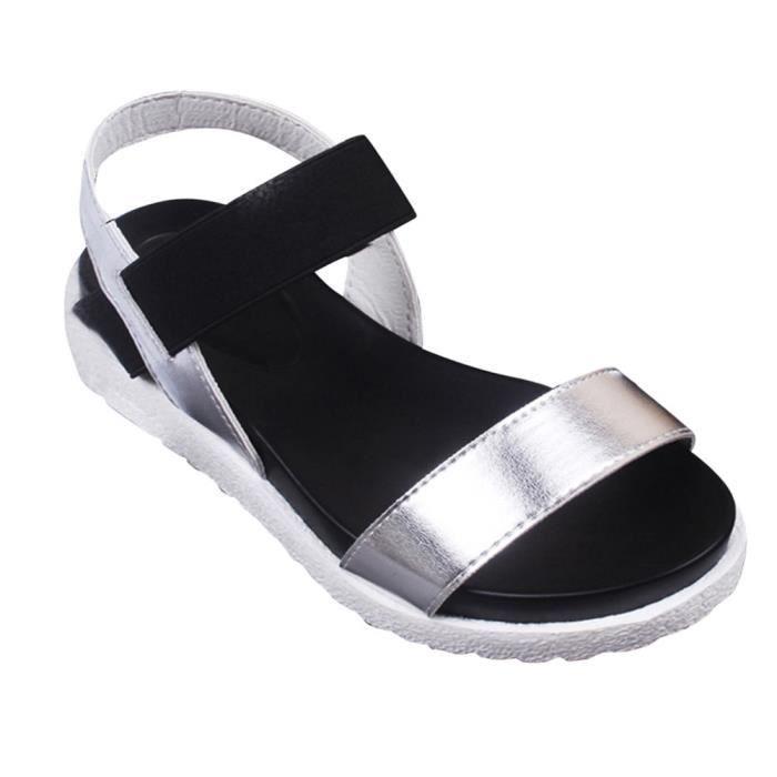 Peep Femme toe D't Chaussures Sandales Pour 37 Argent 6gwqHx