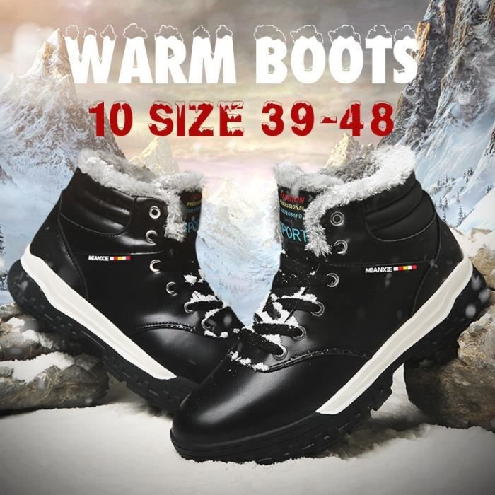 Plus Size 46 47 48 Bottines Mode hiver Hommes Casual Chaussures chaudes de fourrure Bottes court en cuir (noir, bleu, brun)