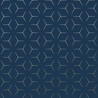Papier Peint Geometrique Metro Illusion Bleu Marine Et Or Wow005