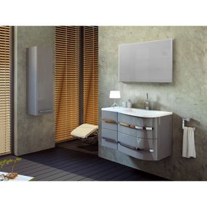 Meubles salle de bain gris laque