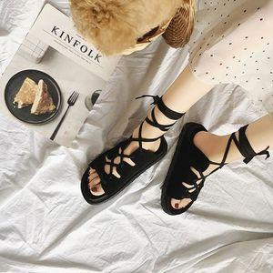 7fa89771d98d31 SANDALE - NU-PIEDS Femmes Dames plates à lacets Vacances d'été Chauss ...