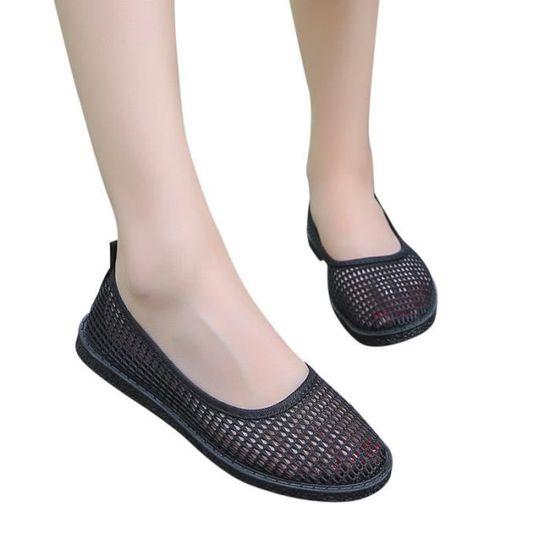 Mode femme respirant creux Slip plat talon pois Casual Chaussures bateau HX1075 Noir Noir Noir - Achat / Vente slip-on
