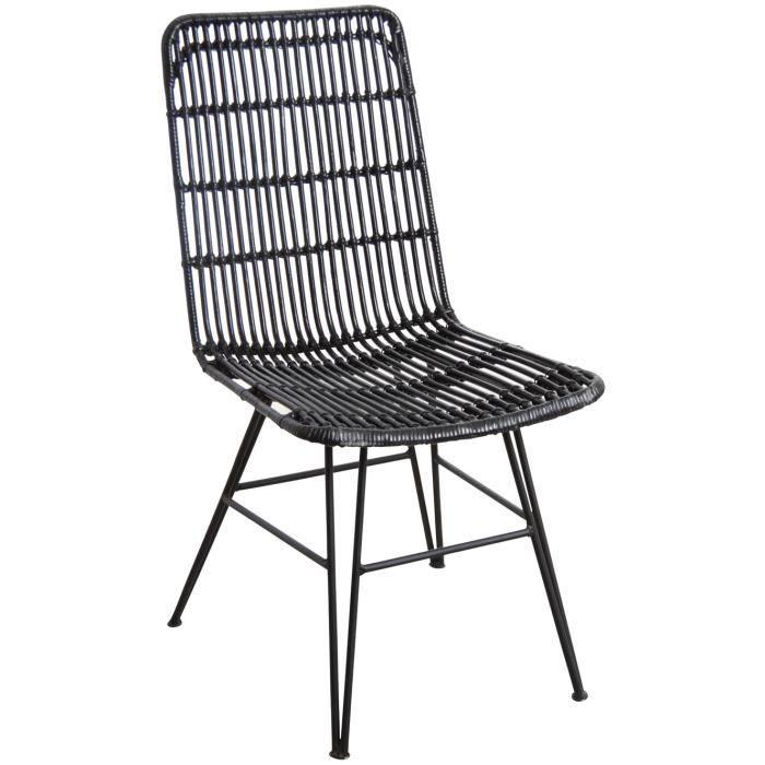 CHAISE Chaise En Rotin Laqu Noir Et Mtal