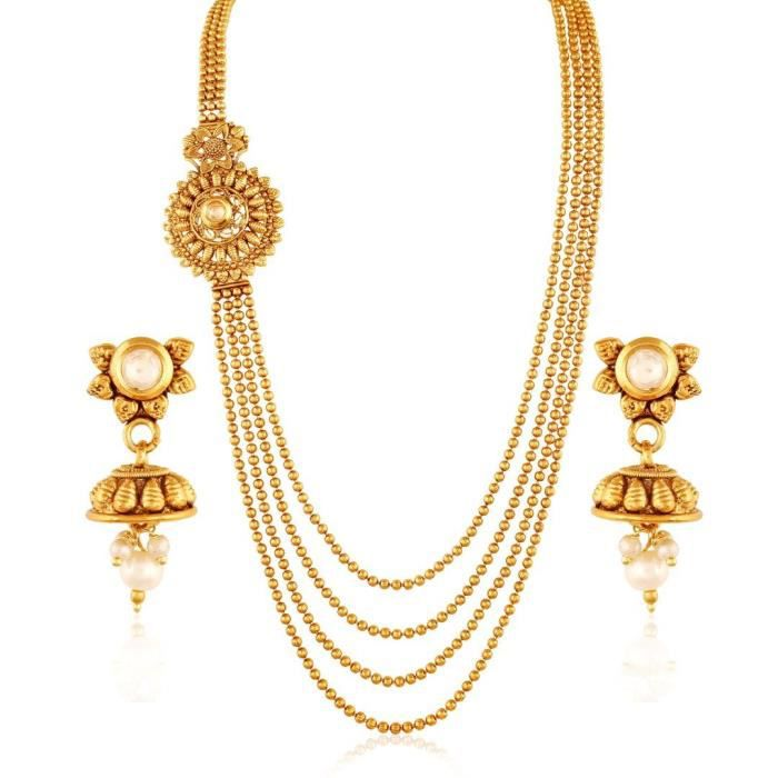 Womens Traditional Multi-layered Kundan Golden Necklace Y53QK