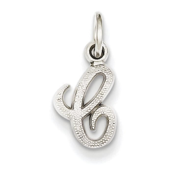 Or blanc 14 carats Initial C charme-Dimensions :16,8 x 8,8 mm